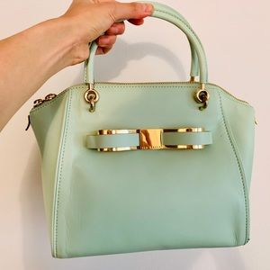 Ted Baker bow gold hardware pastel green tote bag